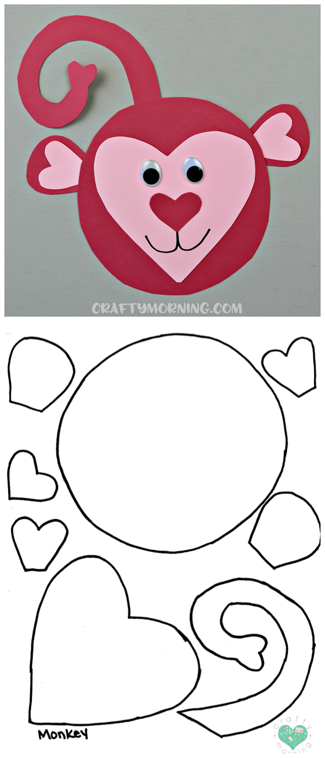 picture relating to Free Printable Crafts titled No cost Printable Templates of Center Form Pets - Cunning