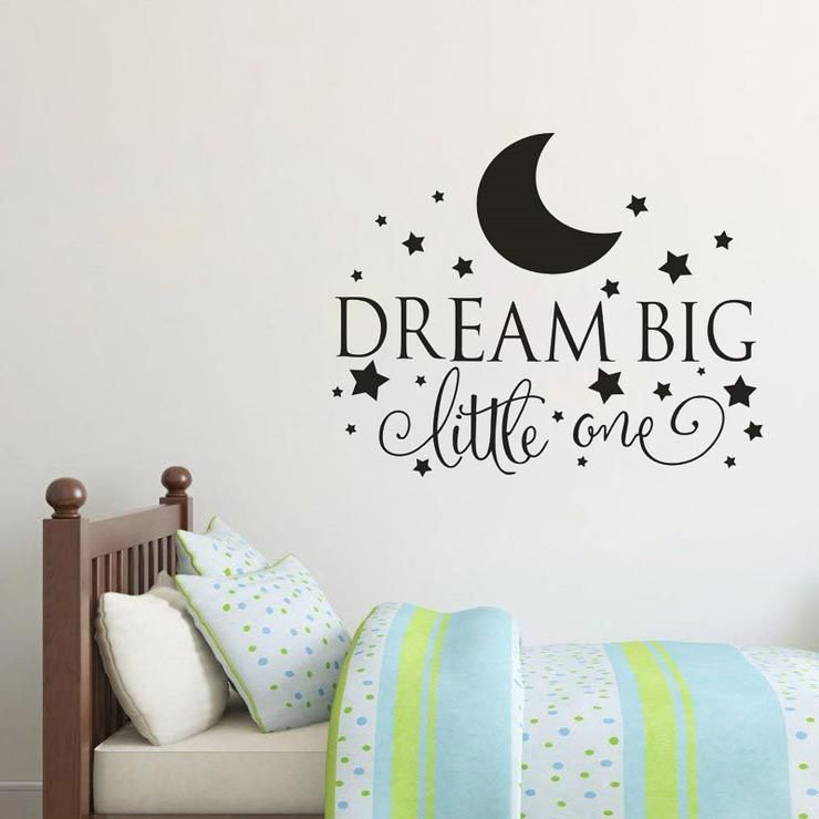 dream big little one quotes wall decal, nursery wall sticker baby