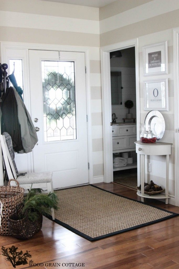 Christmas Home Tour Natural Fiber Rugs Striped Walls And Neutral