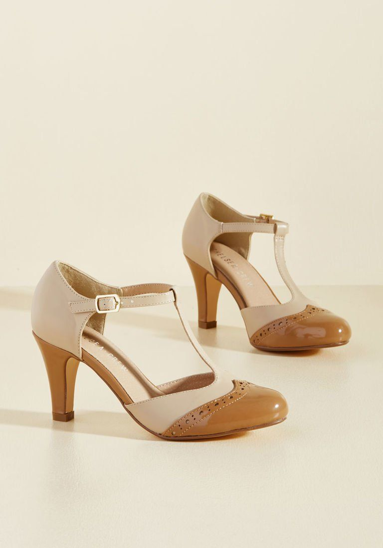 a555343aba8e4f Chelsea Crew Vivacious Vibes T-Strap Heel in Tan in 41 - Mid Heel - Over 2  -3 by Chelsea Crew from ModCloth