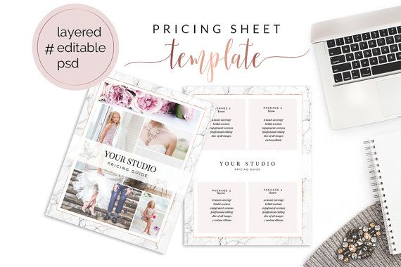 PSD editable Pricing Sheet / Photography Pricing Template / Branding - Price Sheet Template
