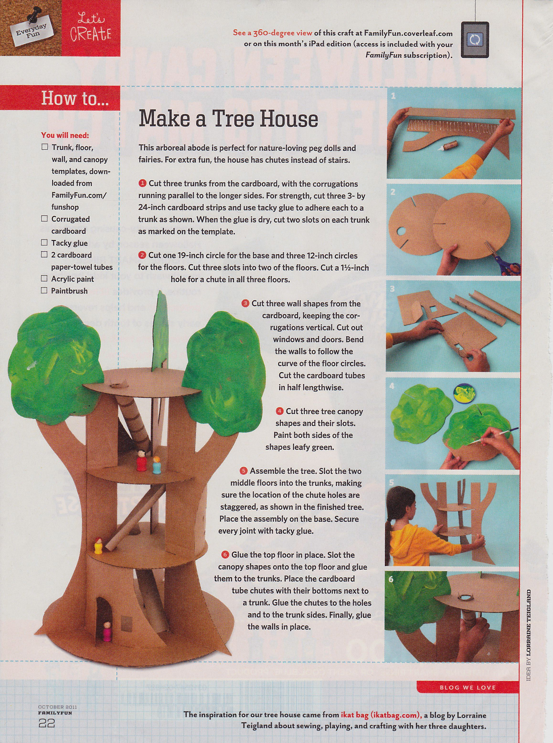 Tree House Craft From Family Fun Magazine October 2011 Crafts