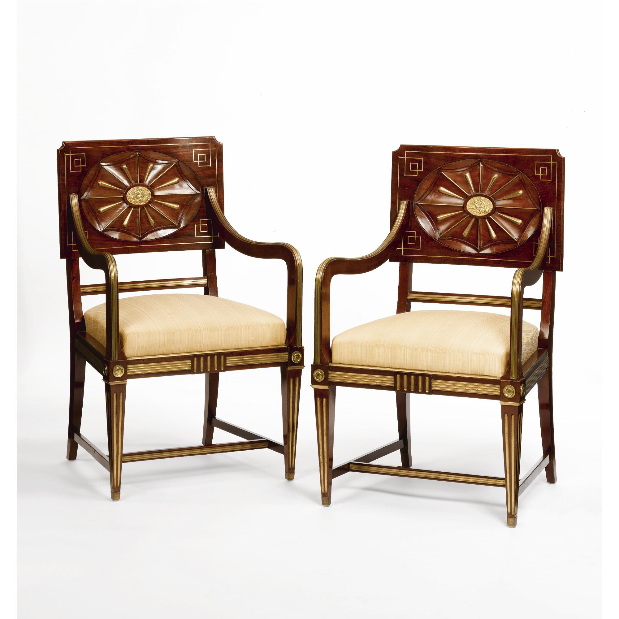 A pair of Russian neoclassical brass-mounted mahogany armchairs mid 19th century | http://www.sothebys.com/en/auctions/ecatalogue/2008/fine-french-continental-furniture-including-european-works-of-art-and-tapestries-ceramics-and-carpets-n08426/lot.340.html
