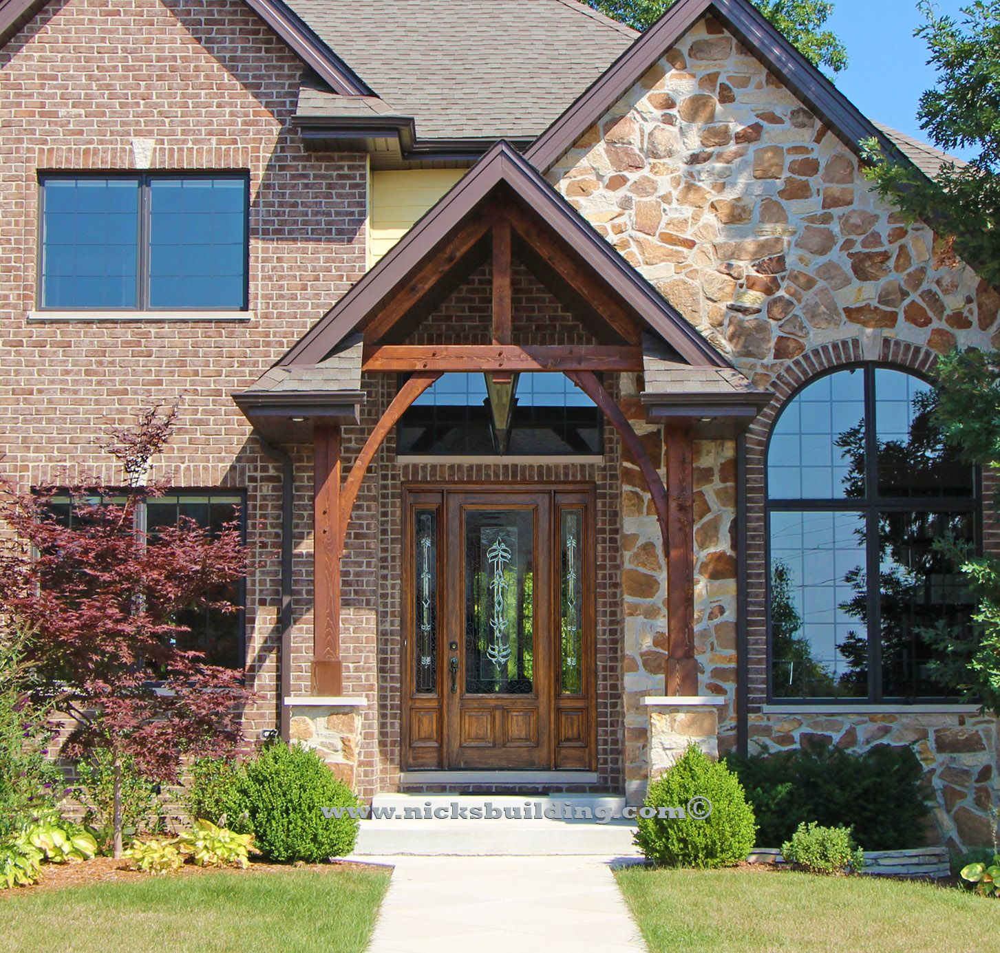 Canopy Over Entrance. Front Entrance Over Hang. Stone Home. Wood ...