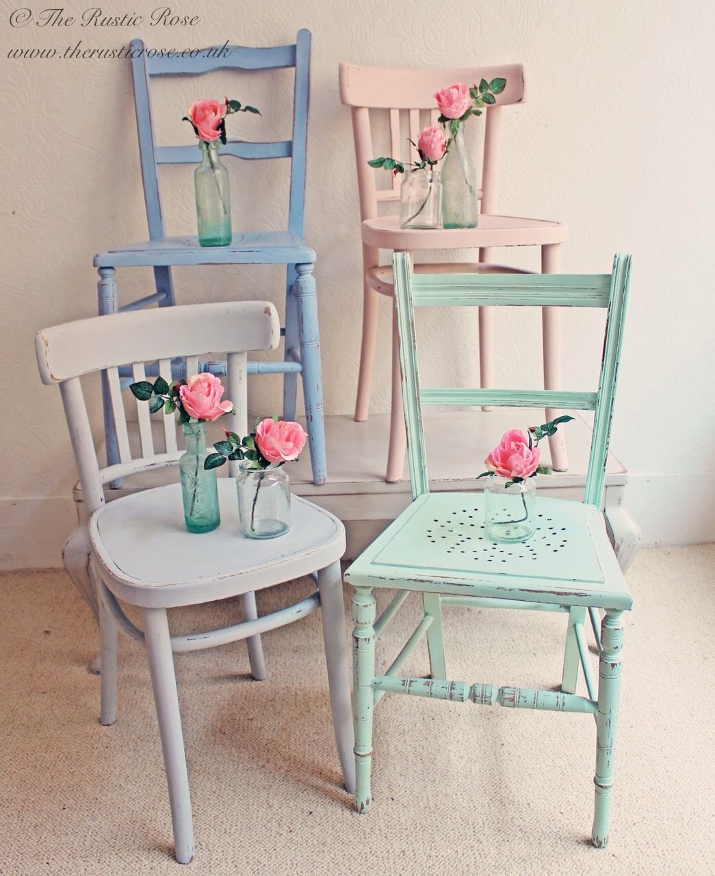 beach shabby chic furniture. #Vintage Chairs Painted In Pretty Candy Colours...shabby Chic Cabin Beach Decor Shabby Furniture
