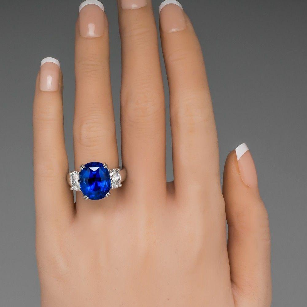 12 Carat Blue Sapphire Ring Diamond Three Stone Platinum Sapphire Ring Oval Sapphire Ring Rings