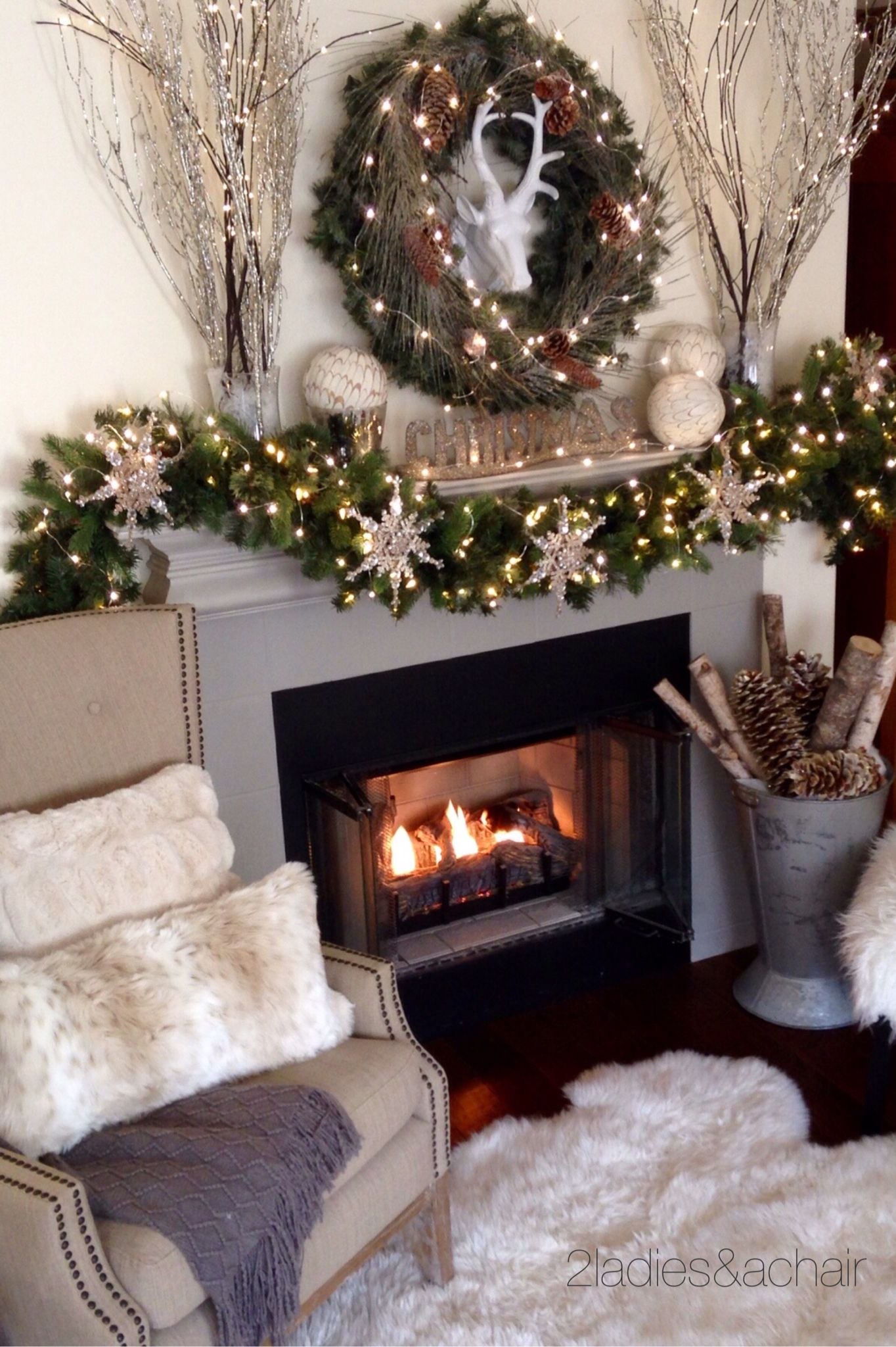 2 Ladies A Chair Christmas Mantel Decorations Christmas Mantle Decor Christmas Decor Diy