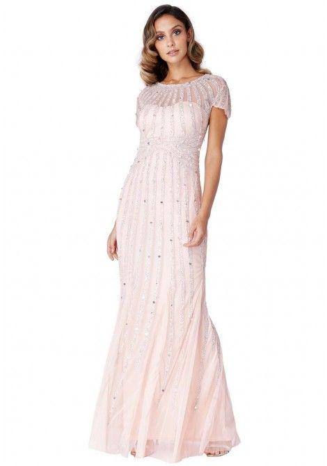 9d7073554b7b Goddiva Sunray Embellished Nude Maxi Dress