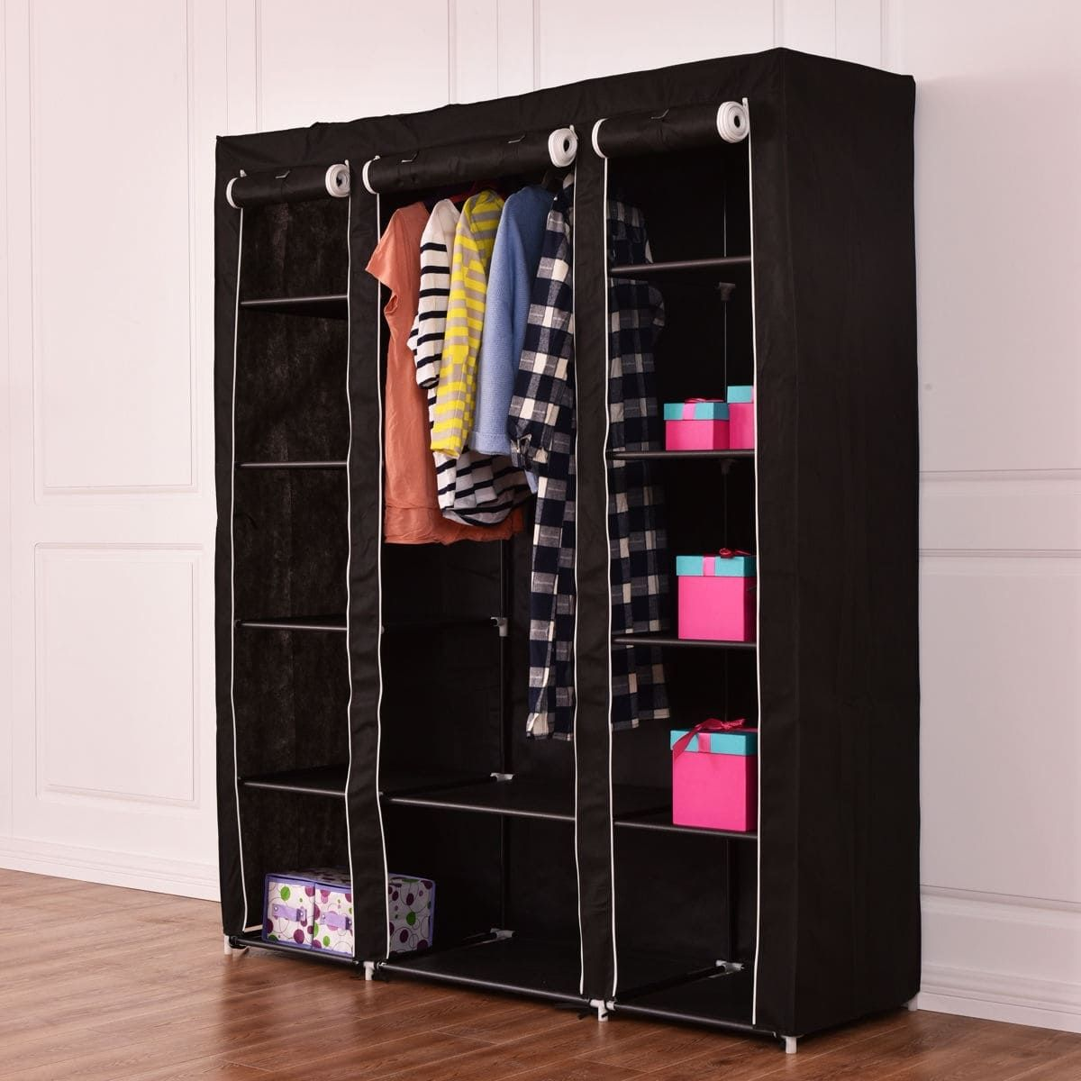 a6cffe27645 Costway 70   Portable Closet Storage Organizer Clothes Wardrobe Shoe Rack W Shelves  Black (Fabric)