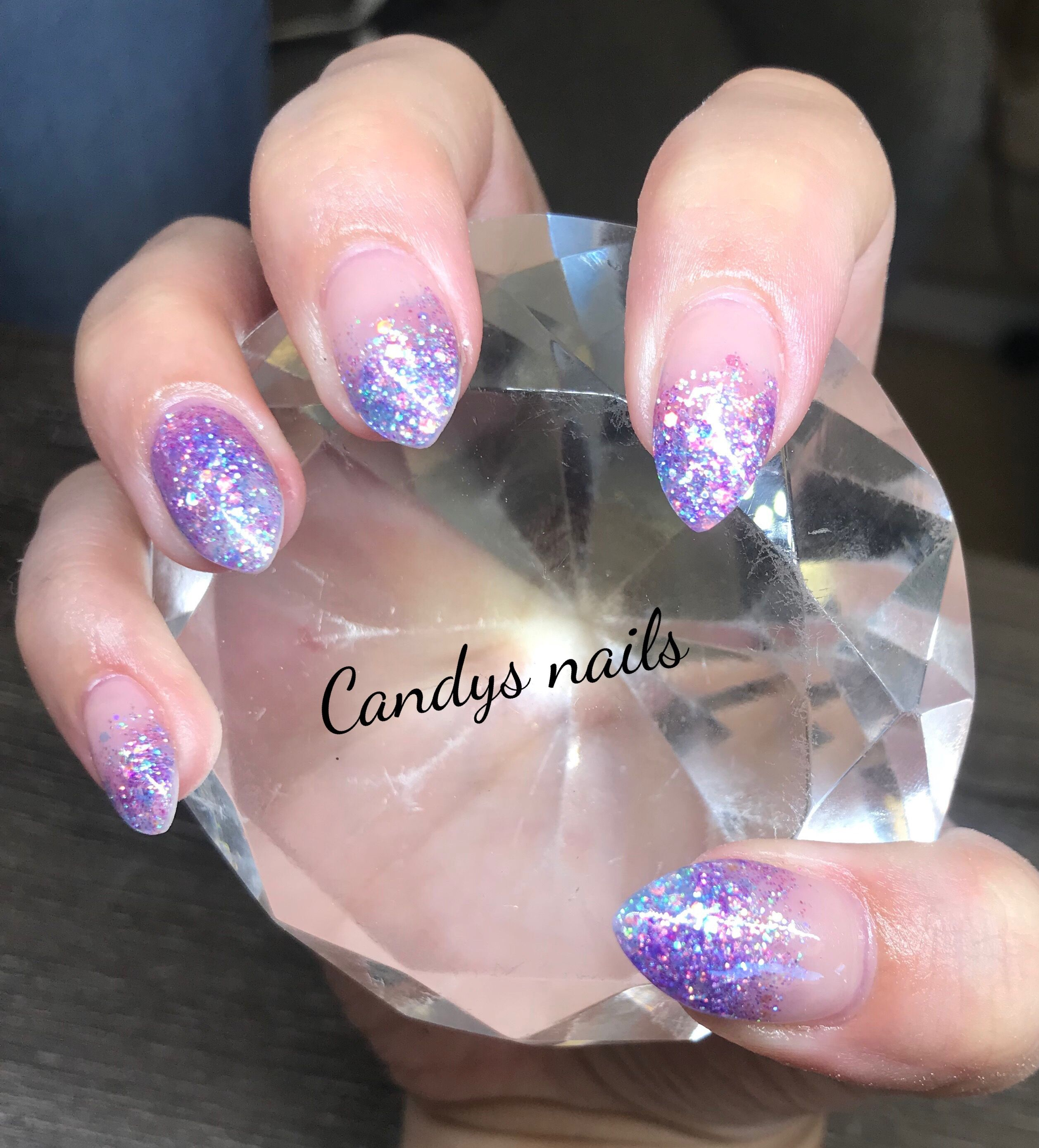 Light Purple Glitter Tip Fade With Accent Acrylic Nails Purple Glitter Nails Glitter Nails Acrylic