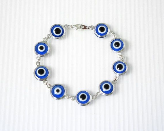 Evil Eye Bracelet, Turkey Myth Charm, Blue Eye Bead, Good