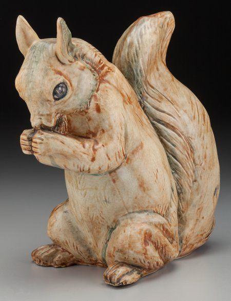 A Weller Ceramic Garden Squirrel Zanesville Ohio Circa 1920