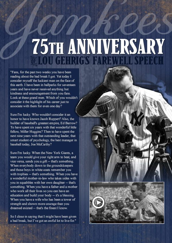 Lou Gehrig S Speech Lou Gehrig 75th Anniversary