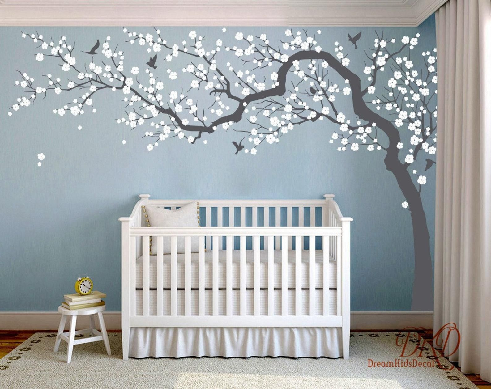 Wall Decal Charming Pink Blossom Tree Cherry Blossom Tree Etsy In 2021 Pink Blossom Tree Nursery Mural Nursery Wall Decals