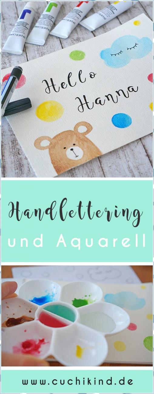 Handletteringkarte mit Aquarellfarben – Cuchikind #Aquarellfarben #Cuchikind #Ha…