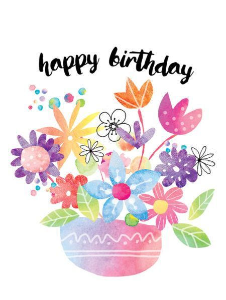 Birthday Quotes Liz Yee Colourful Flower Pot 2 More Happy Images Greetings