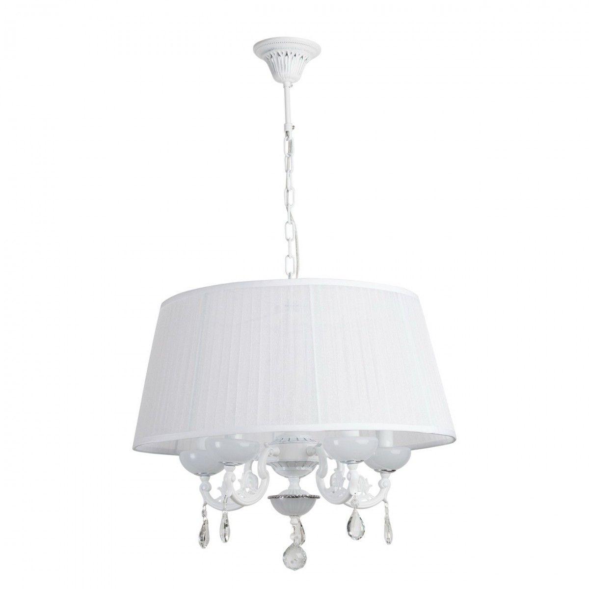 Great Deckenleuchte Elegance Style In Weiß / Chrom Mit Kristallen