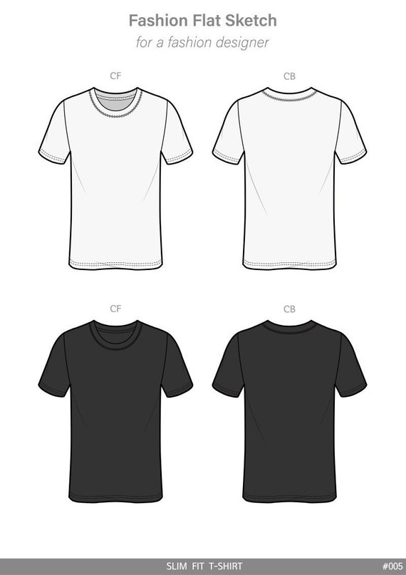 Slim Fit Tee Shirt Fashion Flat Technical Drawing Vector Template