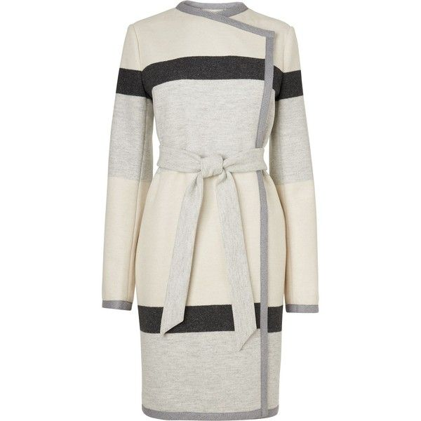 L.K. Bennett Halle Stripe Coat ($540) ❤ liked on Polyvore featuring outerwear, coats, clearance, l.k.bennett and striped coat