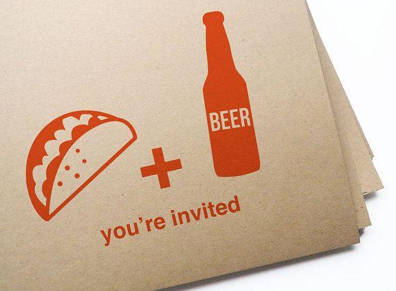 DIY Printable Taco & Beer invites for Cinco De Mayo / Instantly download, Edit, Print, and Send