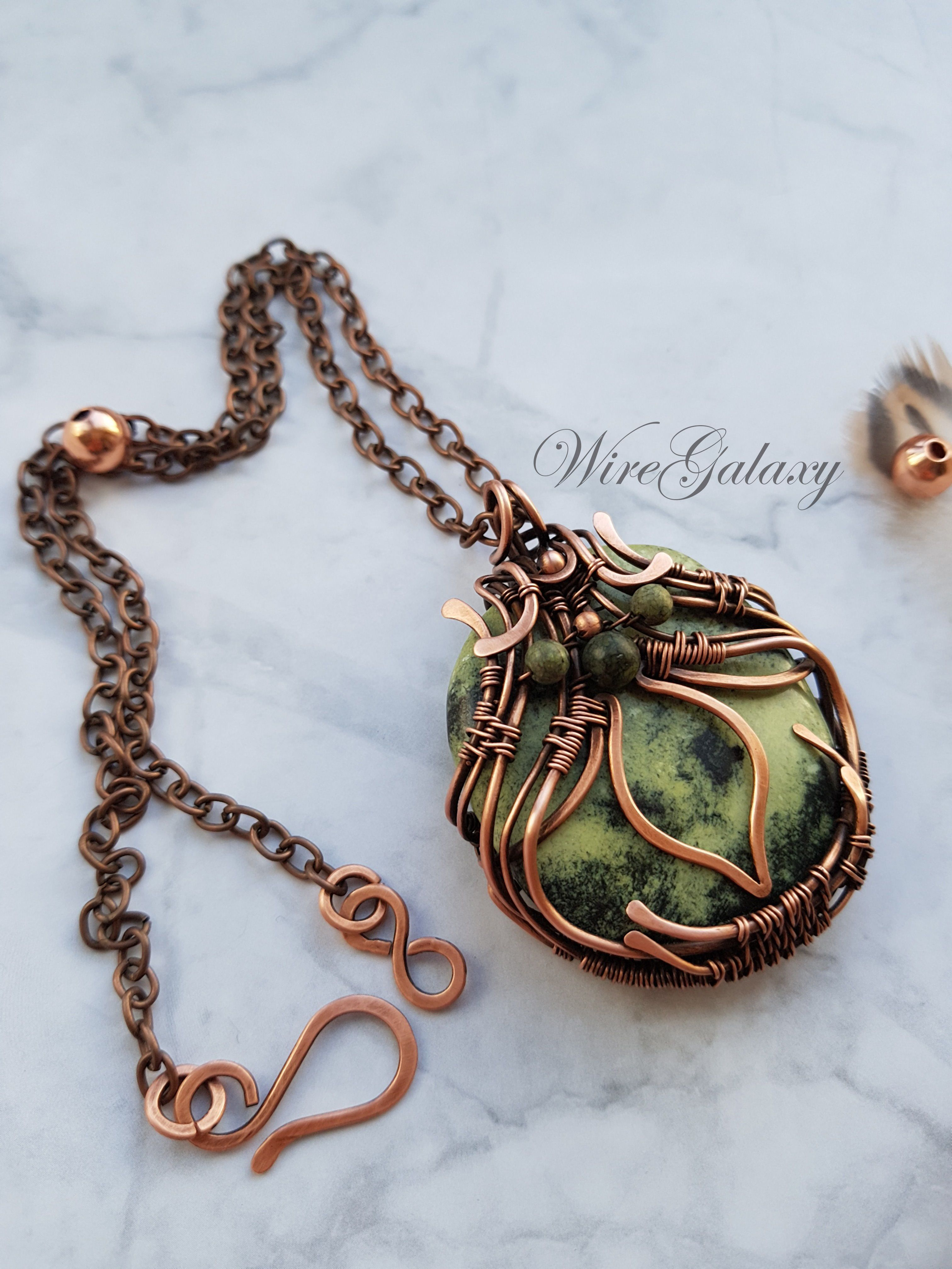 wire wrapped green serpentine gemstone in antique copper pendant necklace