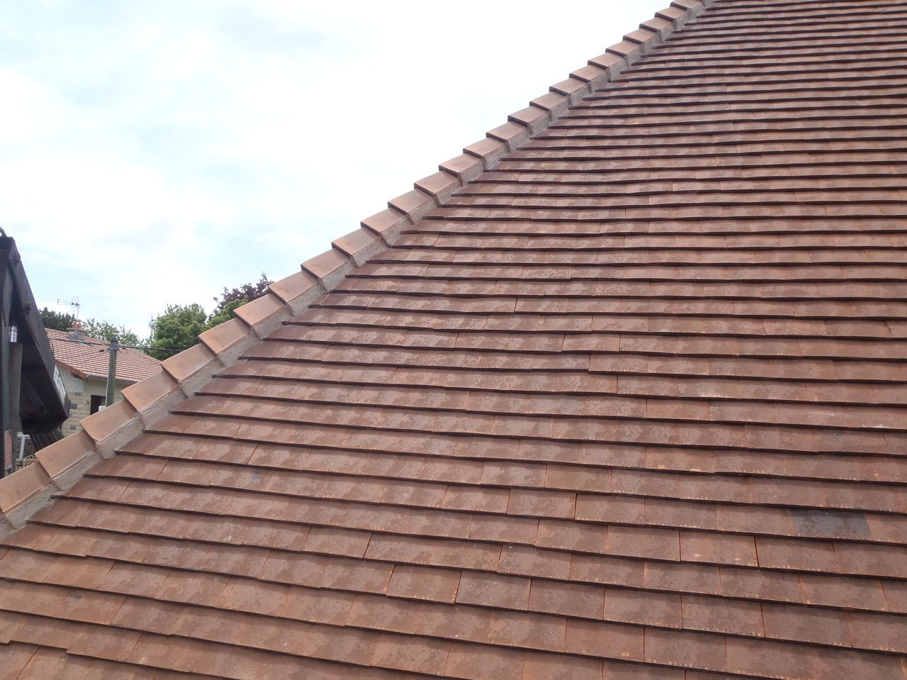 D tail ar tier r fection d 39 une toiture en tuiles terre cuite plates la roche blanche - Tuile plate terre cuite ...