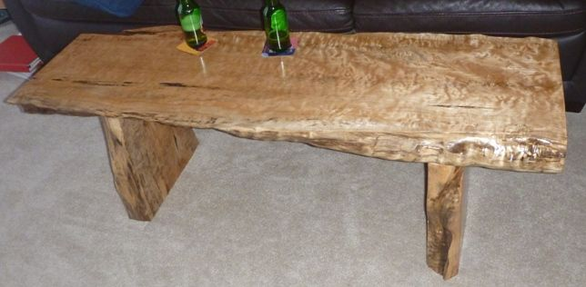Highly Quilted Big Leaf Maple Coffee Table By Refined Rustic Furniture Ltd,  Calgary, Alberta
