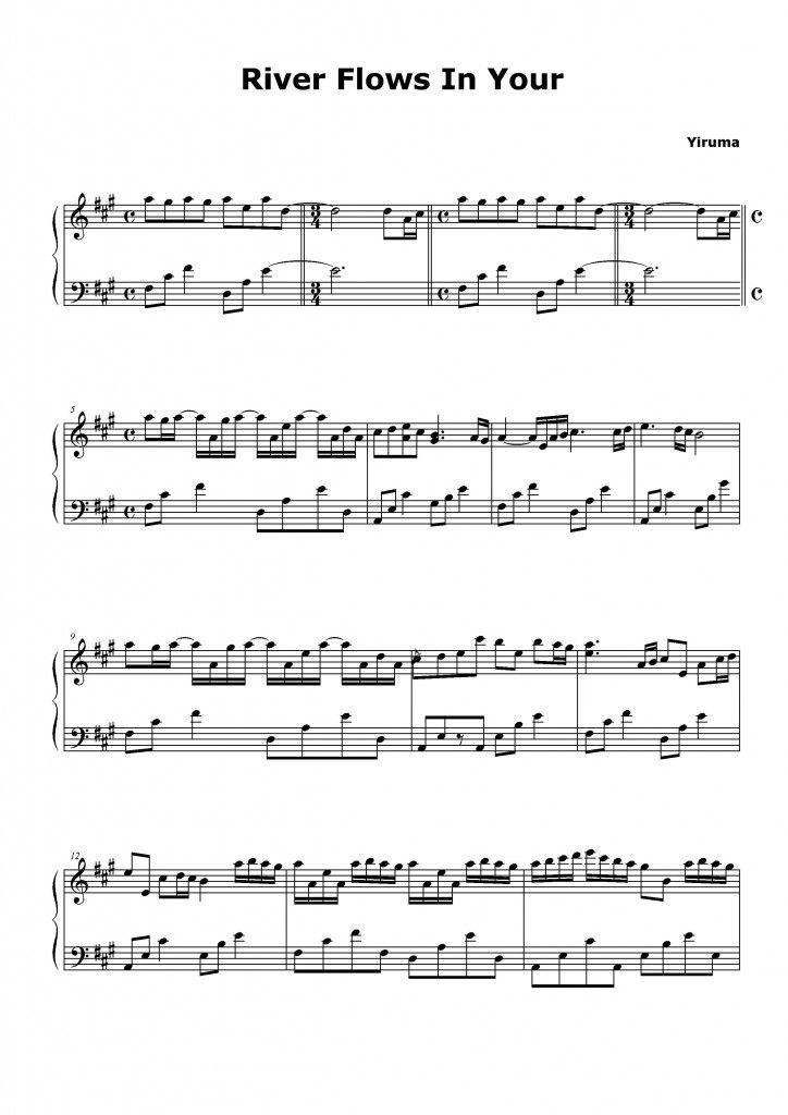 River Flows In You Sheet Music Yiruma Piano Sheet Music Mit