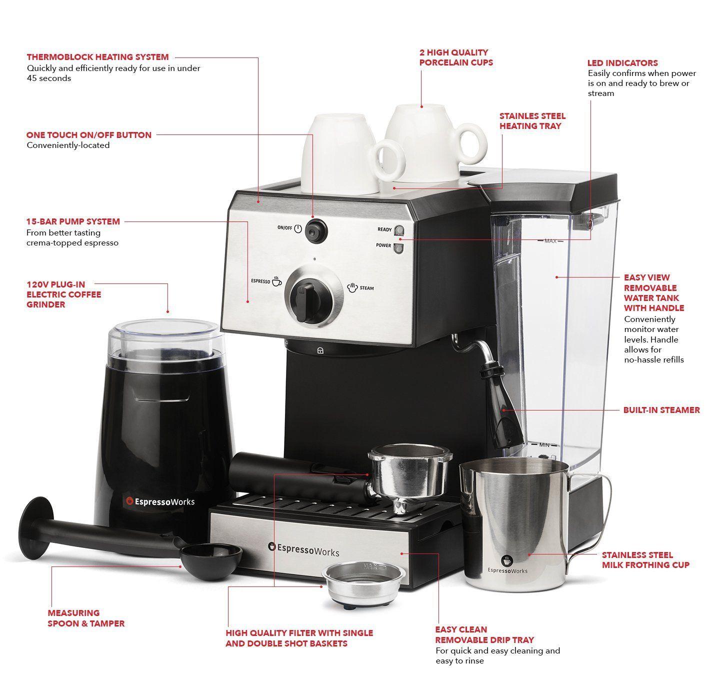 7 pc allinone espresso cappuccino maker