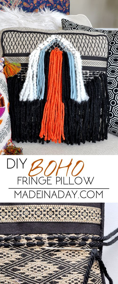 Super easy way to update a dated pillow into a fun DIY Boho Fringe Pillow. Just weave yarn into a triangle pattern and add pops of color for a new fun look!