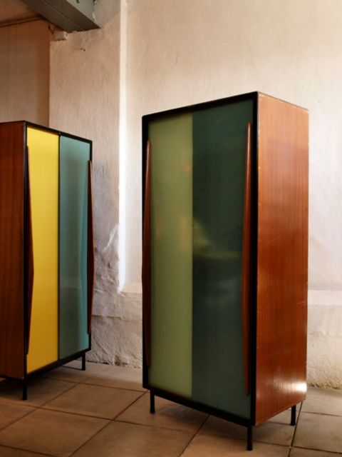 Multicolored Metal Door Cabinets by Willy Van Der Meeren for Tubax Vilvoorde @Christopher Culley (like the one at Anthropologie!)