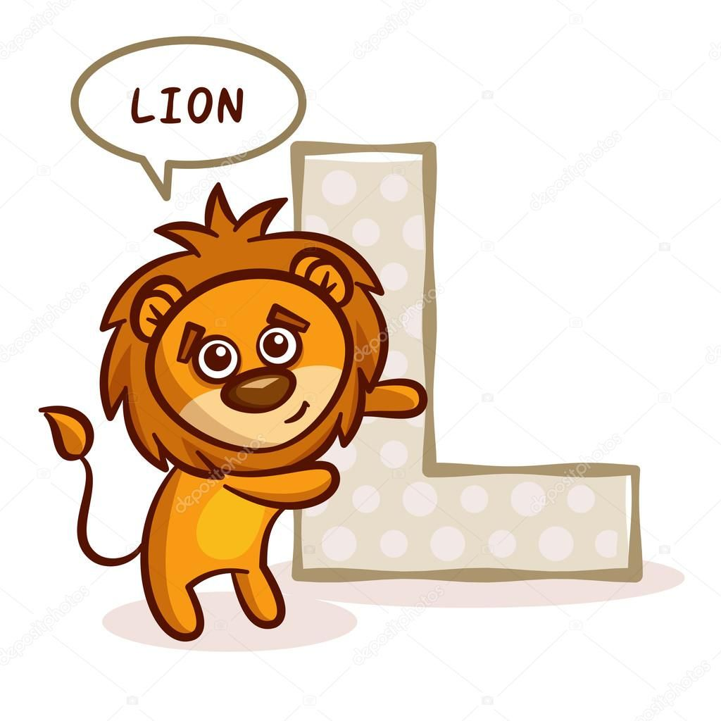 Abc Zoo Abecedario Letra L Leon Vector Ilustracion Lettering Alphabet Abc Zoo Stock Illustration