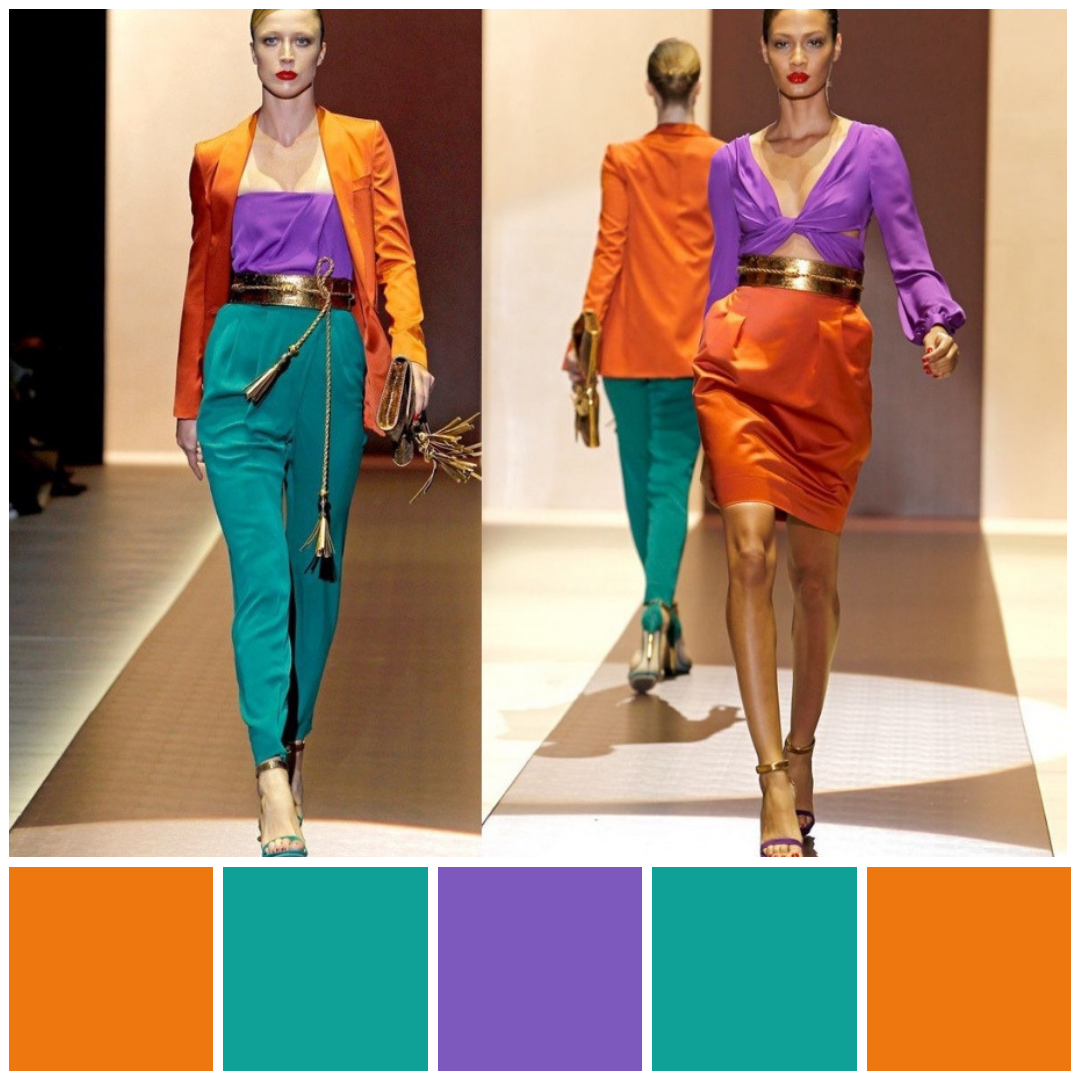 Triadic Colour Scheme Orange Green And Purple Colour Blocking Triadic Colour Illustration By Color Blocking Outfits Orange Color Schemes Purple Color Block