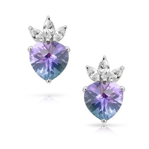 3218c2903 Bling Jewelry Alexandrite Color Changing CZ Heart Crown Stud Earrings 925  Silver by Bling Jewelry