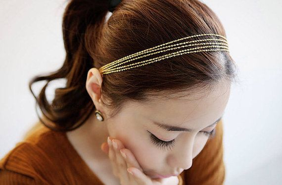 Beautiful Gold Tone Twisted Strand Stretchy Hair Head Band Etsy In 2021 Fashion Hair Accessories Hair Accessories Hair Jewelry