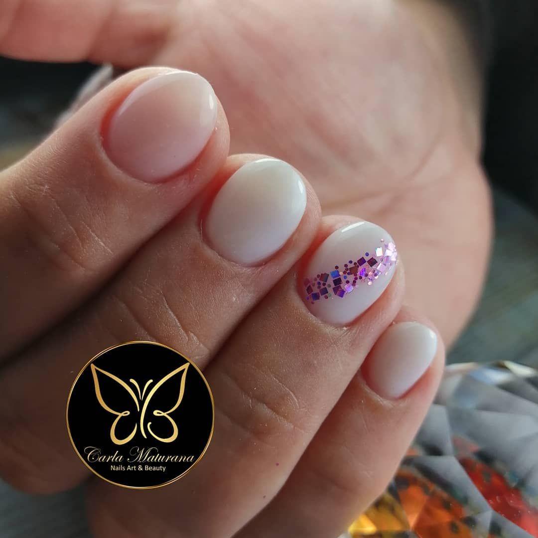 Manicure Rusa Convinada Con Nivelación Y Esmaltado Permanente Más Glitter De Holy Polish Para La Queridisima Mabelenpezoa Nails Nai Nails Enamel Pins Pin