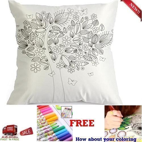 DIY Coloring Pillowcase Tree Pillow Case Cushion Cover Free 12 ...