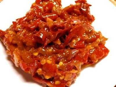 Resep Sambal Bajak Enak Teri Ala Bu Rudi Jawa Timur Bumbu Balado Sambal Cooking Inspiration Sambal Recipe