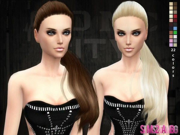 The Sims Resource: Hair 04 – Selena ponytail hair by SIm2fanbg • Sims 4 Downloads