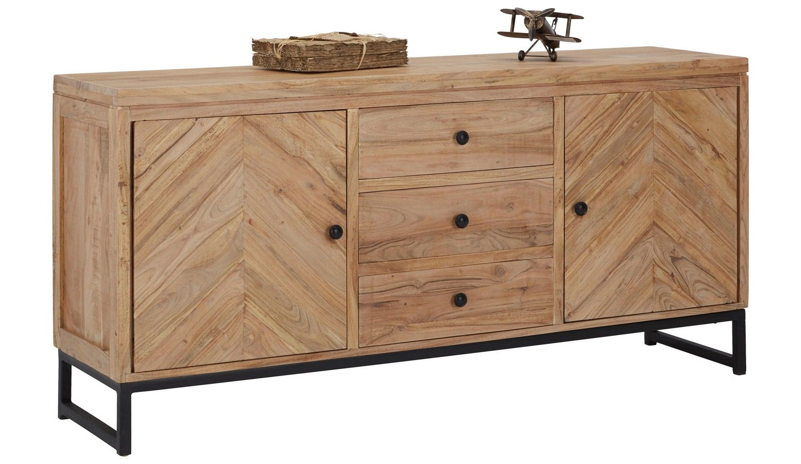 Sideboard in Schwarz/akaziefarben - Schwarz/Akaziefarben, LIFESTYLE, Holz/Metall (160/75/40cm) - ZANDIARA