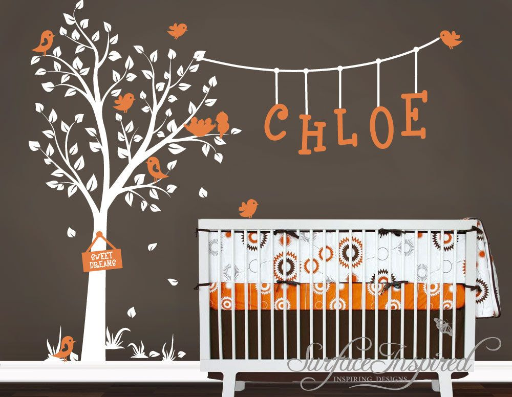 Nursery Wall Decals Cute Garden Tree With Custom Name Wall Decal - Wall decals baby room