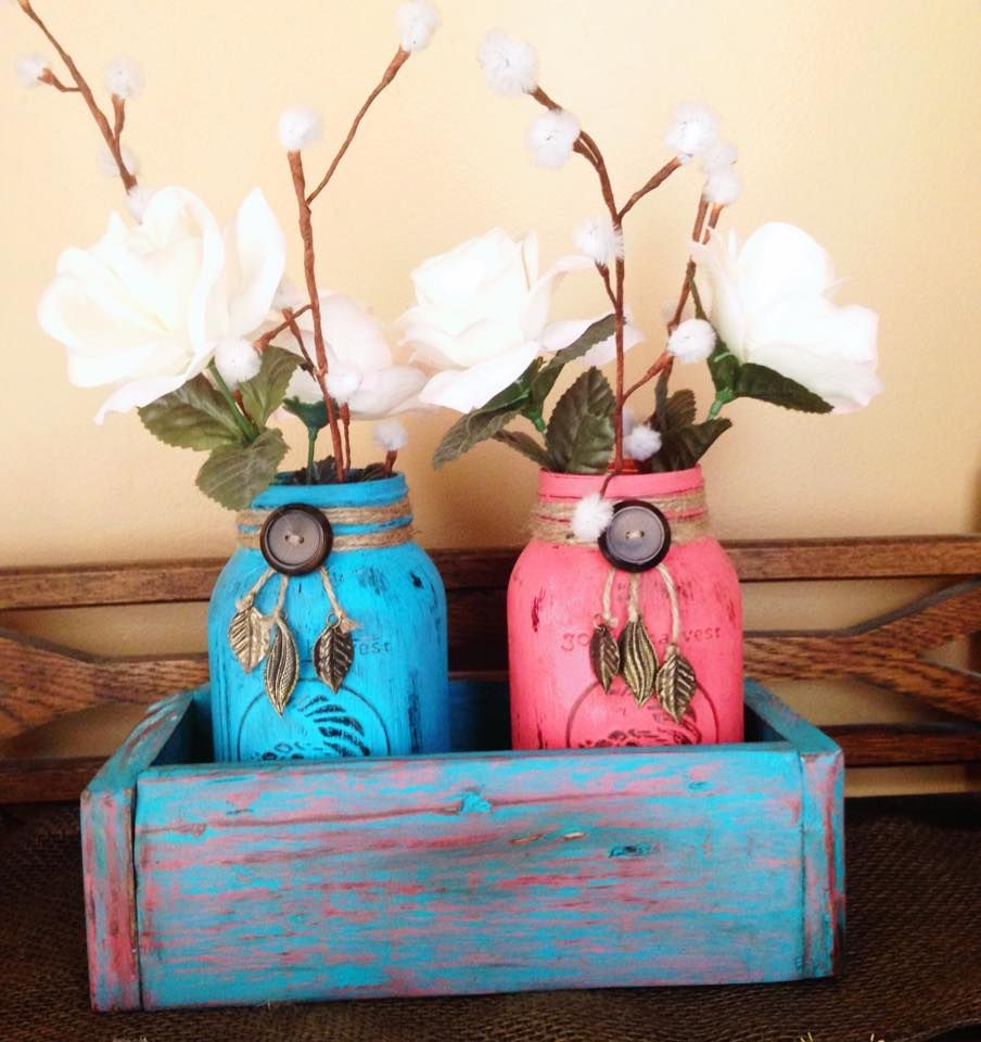 Distressed box in Coral and Leguna Blue, with matching jars