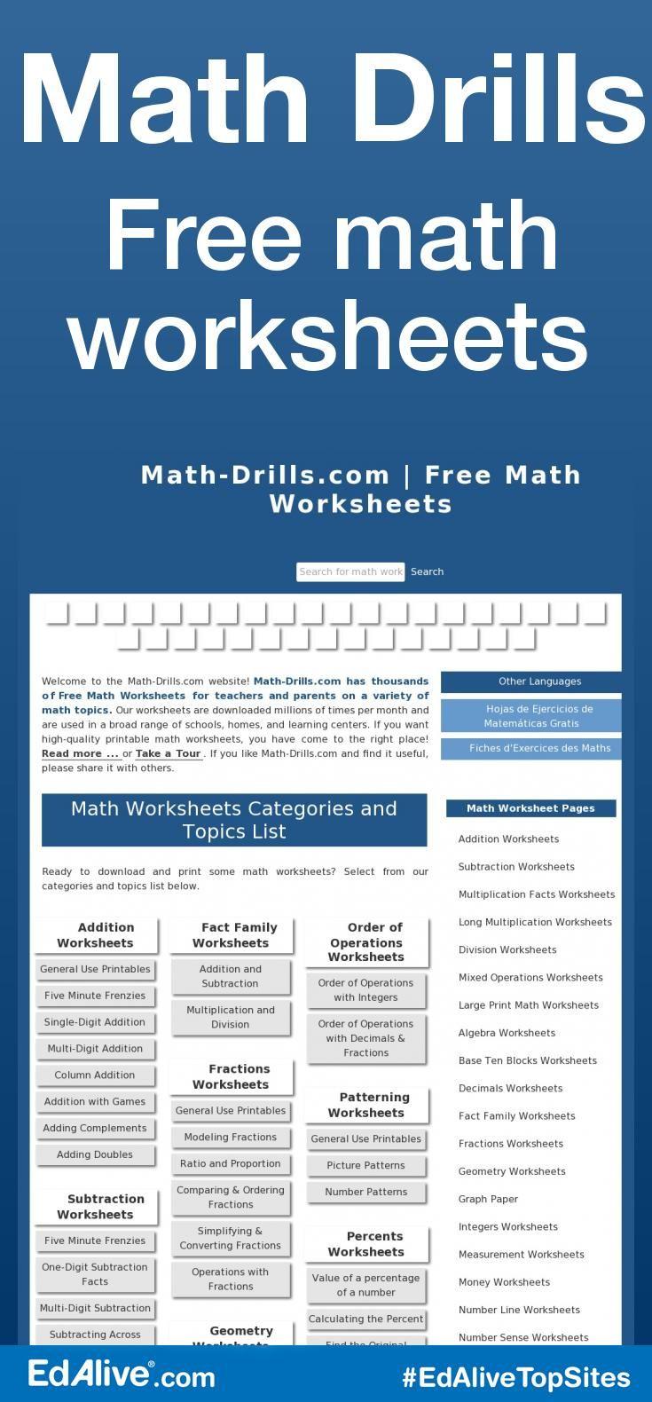Math Drills | Printable maths worksheets, Free math worksheets and ...
