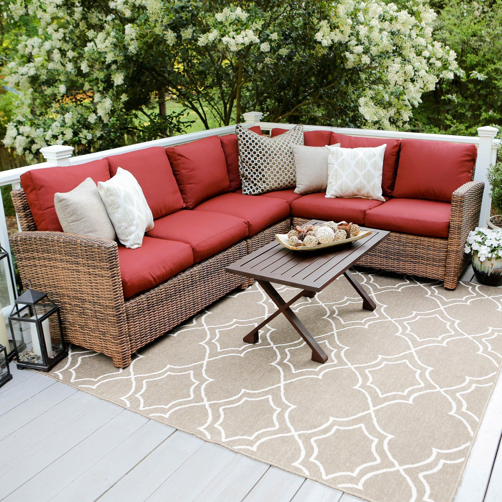Outdoor Leisure Made Dalton Wicker 5 Piece Corner Sectional Patio Conversation Set Red Sectional Patio Furniture Patio Furniture Sets Furniture Sets