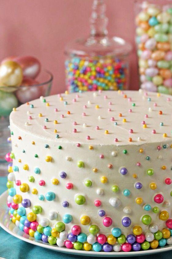 HLoTips Pastel decorado con perlas de colores fcil sencillo y