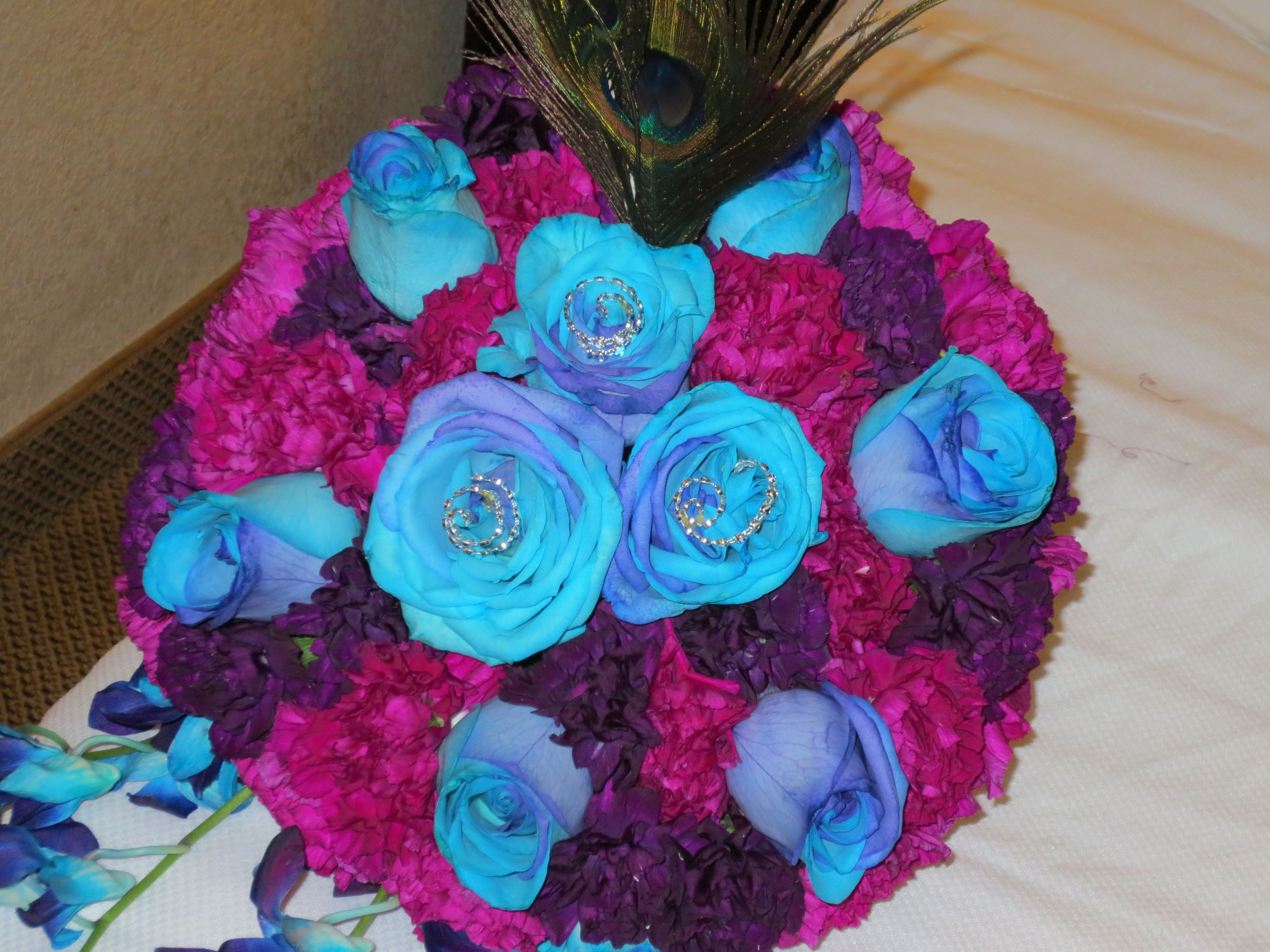 European Style Bridal Bouquet With Tinted Purple And Teal Roses