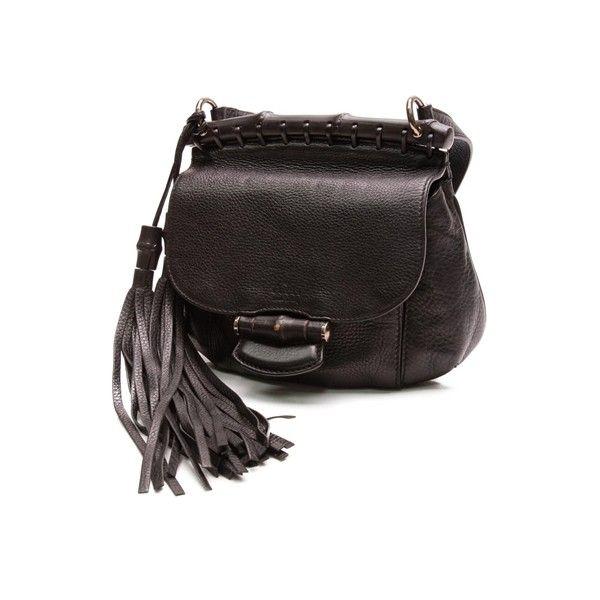 5fa433241 Pre-Owned Gucci Black Pebbled Leather Nouveau Fringe Crossbody Bag ($700) ❤  liked