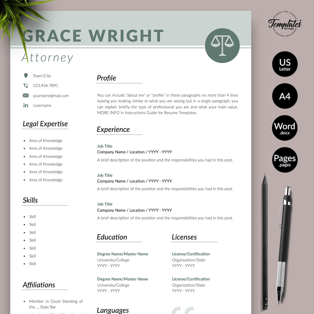 Legal Resume Templates for Word and Pages Resume