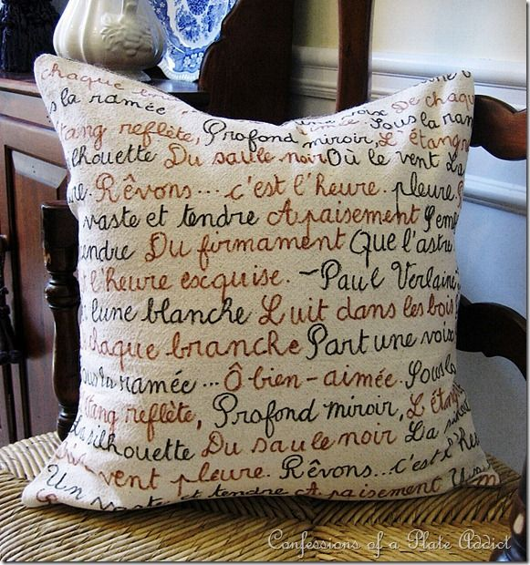DIY French Poetry Pillow and Envelope Closure Tutorial I think