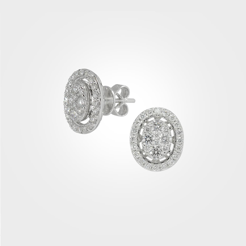 Shimmering Oval Shaped Diamond Earrings
